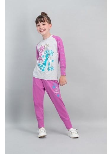Frozen Karlar Ülkesi - Frozen Lisanslı Karmelanj Kız Çocuk Pijama Takımı Gri